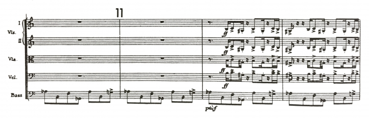 "Figure 2. Sensemayá, ""Mayombe"" theme from version one (manuscript) starting at rehearsal no. 6, measure 5; and from published score, rehearsal no. 11, measure 2, strings (Garland 1991:182)"